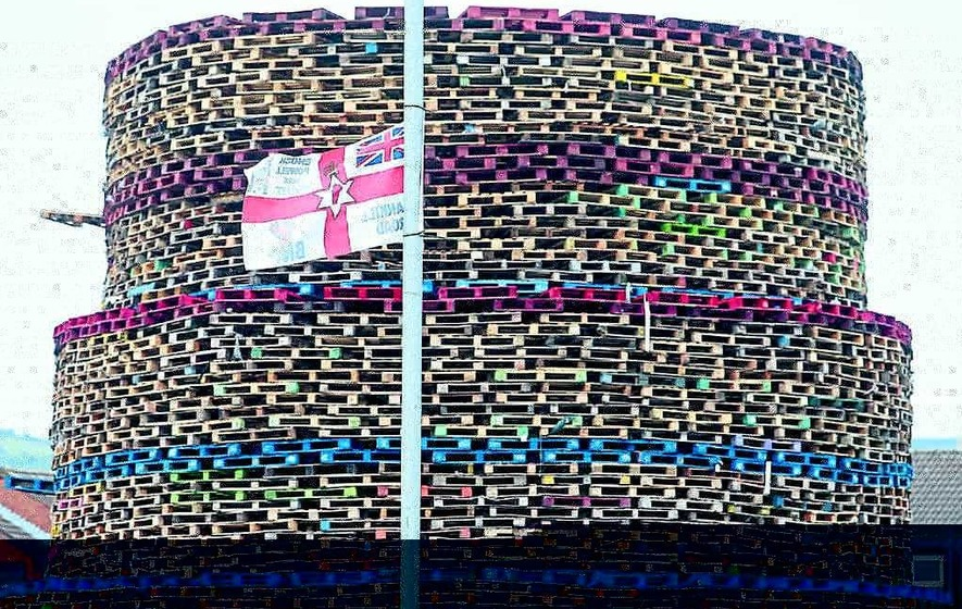 BNP and Enoch Powell banners on bonfire