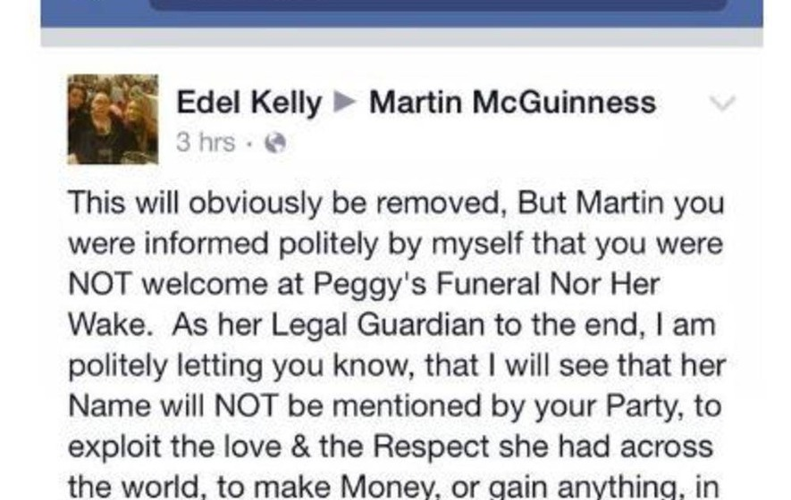 """McGuinness told he was """"not welcome"""" at funeral"""