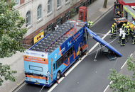 Horror as roof of London tour bus ripped off injuring a bride