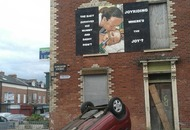 Car crashes in front of anti-joyriding mural