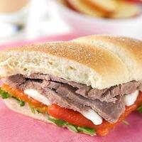Easy Peasy Recipe: roast beef, red pepper & mozzarella sub