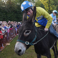 AP McCoy loses to Barry McGuigan at Moneyglass donkey derby