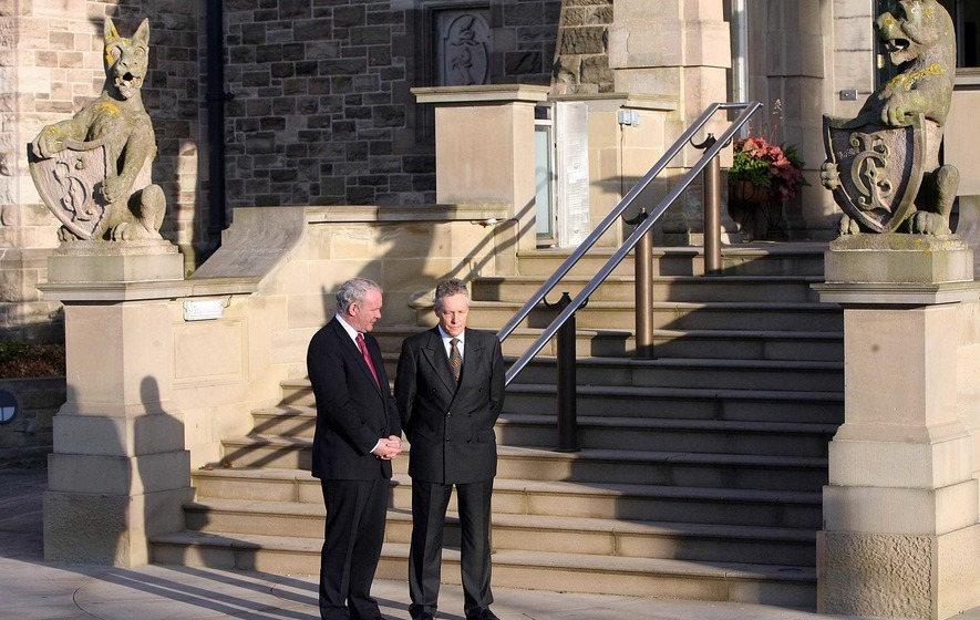 David Cameron meets Peter Robinson and Martin McGuinness