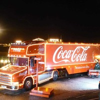 Coca-Cola Christmas truck on the road to Belfast