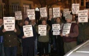 Protest at Belfast Sinn Féin centre over welfare deal